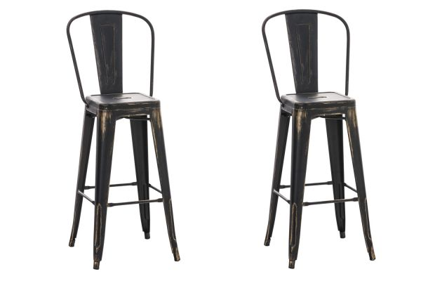 Lot de 2 tabourets de bar Aiden en métal