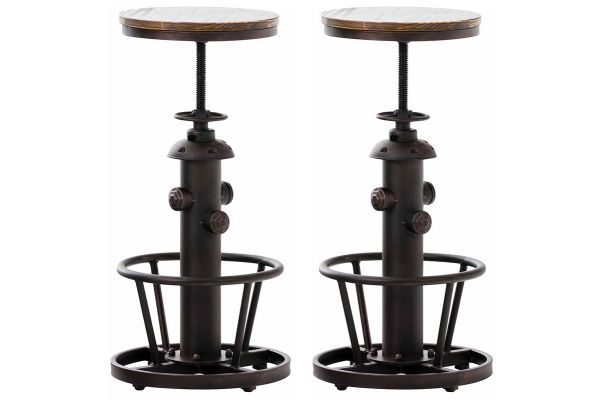 Lot de 2 tabourets de bar Bruna au style industriel