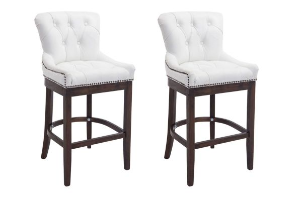 Lot de 2 Tabourets de bar Buckingham Cuir véritable