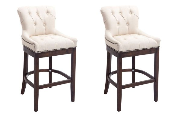 Lot de 2 Tabourets de Bar Buckingham tissu