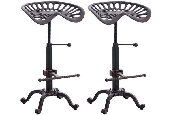 Lot de 2 tabourets de bar Butch au style industriel