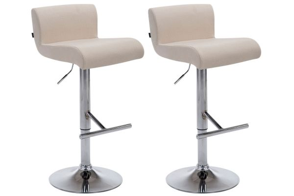 Lot de 2 tabourets de bar California en Tissu