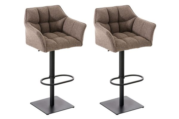 Lot de 2 tabourets de bar Damaso en tissu
