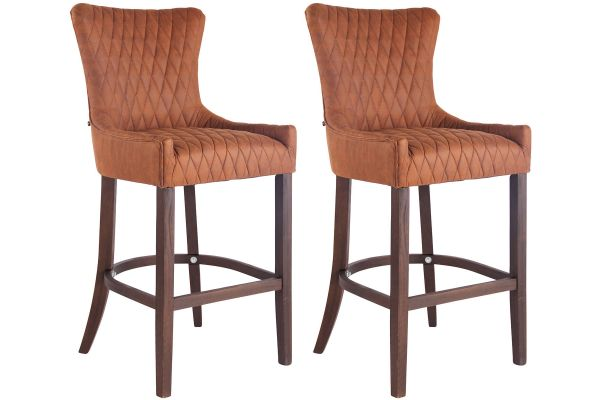 Lot de 2 Tabourets de Bar Hanoi Similicuir Vintage