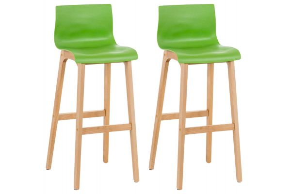 Lot de 2 tabourets de bar Hoover assise plastique 4 pieds nature