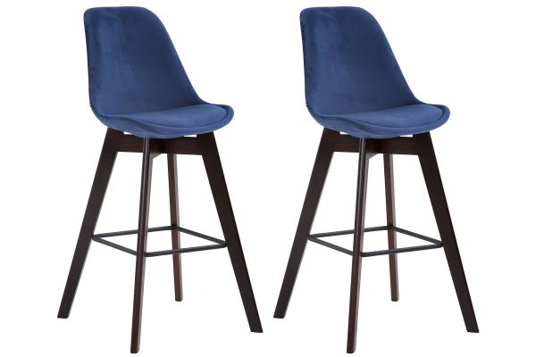Lot de 2 tabourets de bar Metz en velours