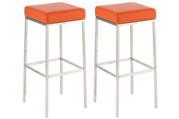 2er Set Barhocker Montreal 85 Kunstleder edelstahl orange