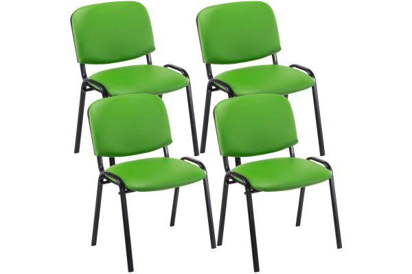4er Set Besucherstuhl Ken Kunstleder grün