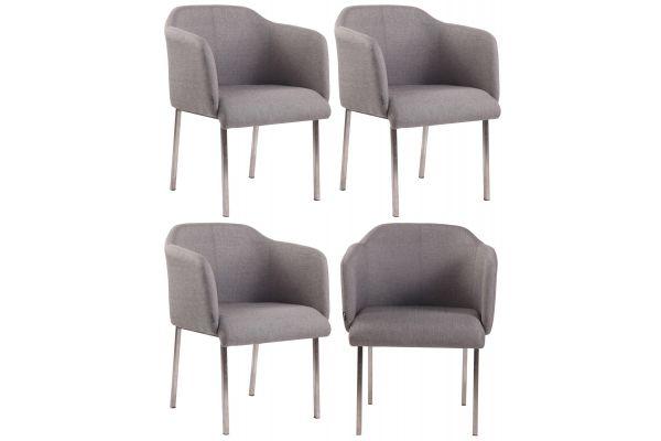 4 x Chaise visiteur Magnus V2 en tissu ou similicuir avec Piètement en acier inoxydable