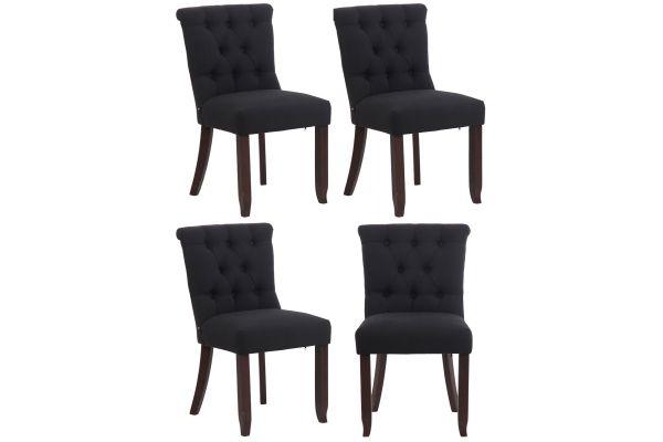4er Set Stuhl Alberton Stoff antik schwarz