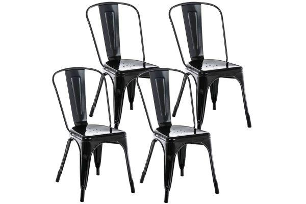Lot de 4 chaises métalliques empilables Benedikt