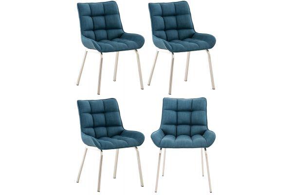4 x Chaise Saranda en Tissu avec Piètement en métal noir ou acier inoxydable