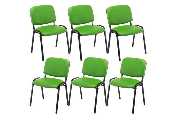 6er Set Besucherstuhl Ken Kunstleder grün