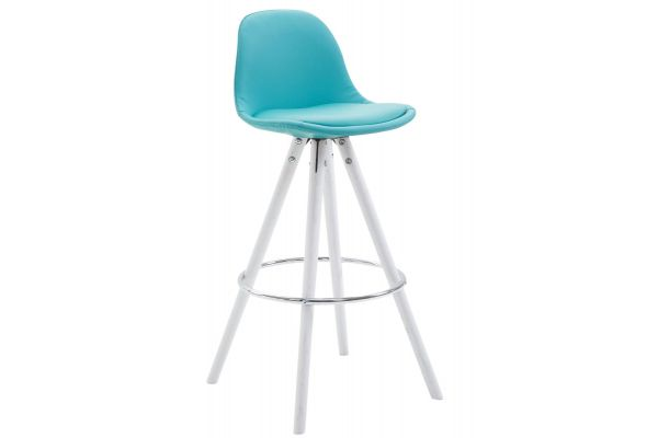 Tabouret de bar Franklin similicuir rond blanc