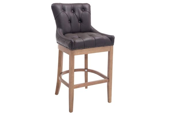 Tabouret de bar Lakewood antique-clair cuir véritable