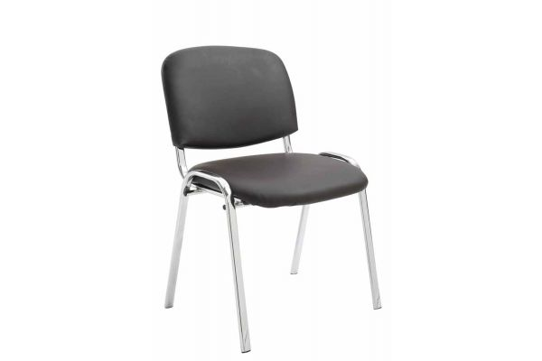 Chaise visiteur Ken support chromé similicuir
