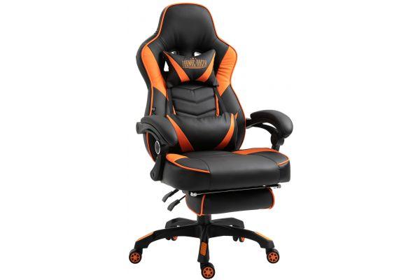 Chaise Gaming / de bureau Tilos en similicuir avec repose-pieds téléscopique