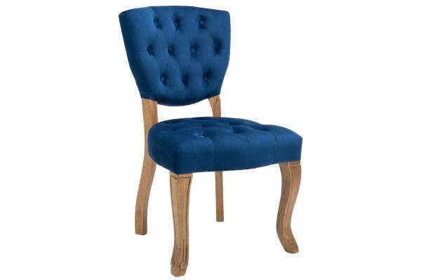 Chaise de salle à manger Elysa en Velours avec Piètement en bois de caoutchouc