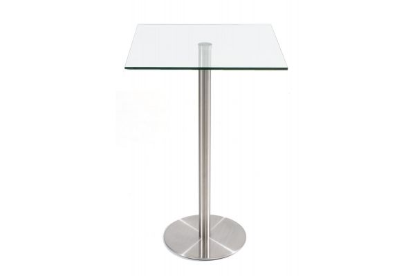 Table haute Vitral 70x70 cm avec piètement en Acier inoxydable