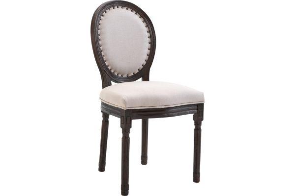 Chaise de salle à manger chic Lorient en tissu et piètement en bois