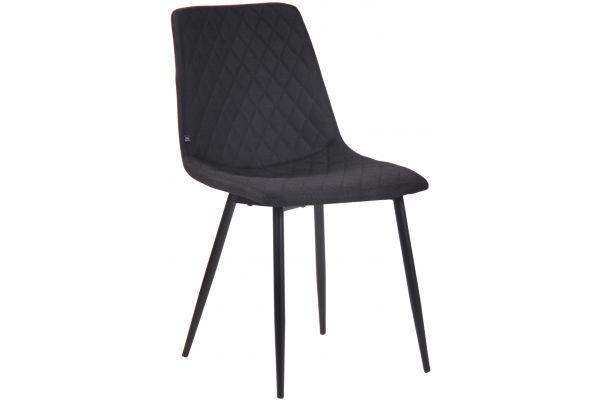 Chaise de salle à manger Telde en tissu avec Piètement en Métal noir mat