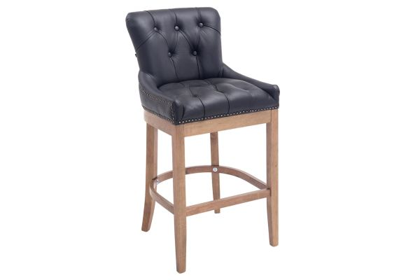 Tabouret de bar Buckingham cuir véritable