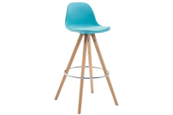 Tabouret de bar Franklin similicuir rond nature