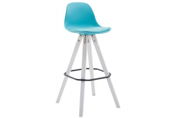 Tabouret de bar Franklin à coque plastique square blanc